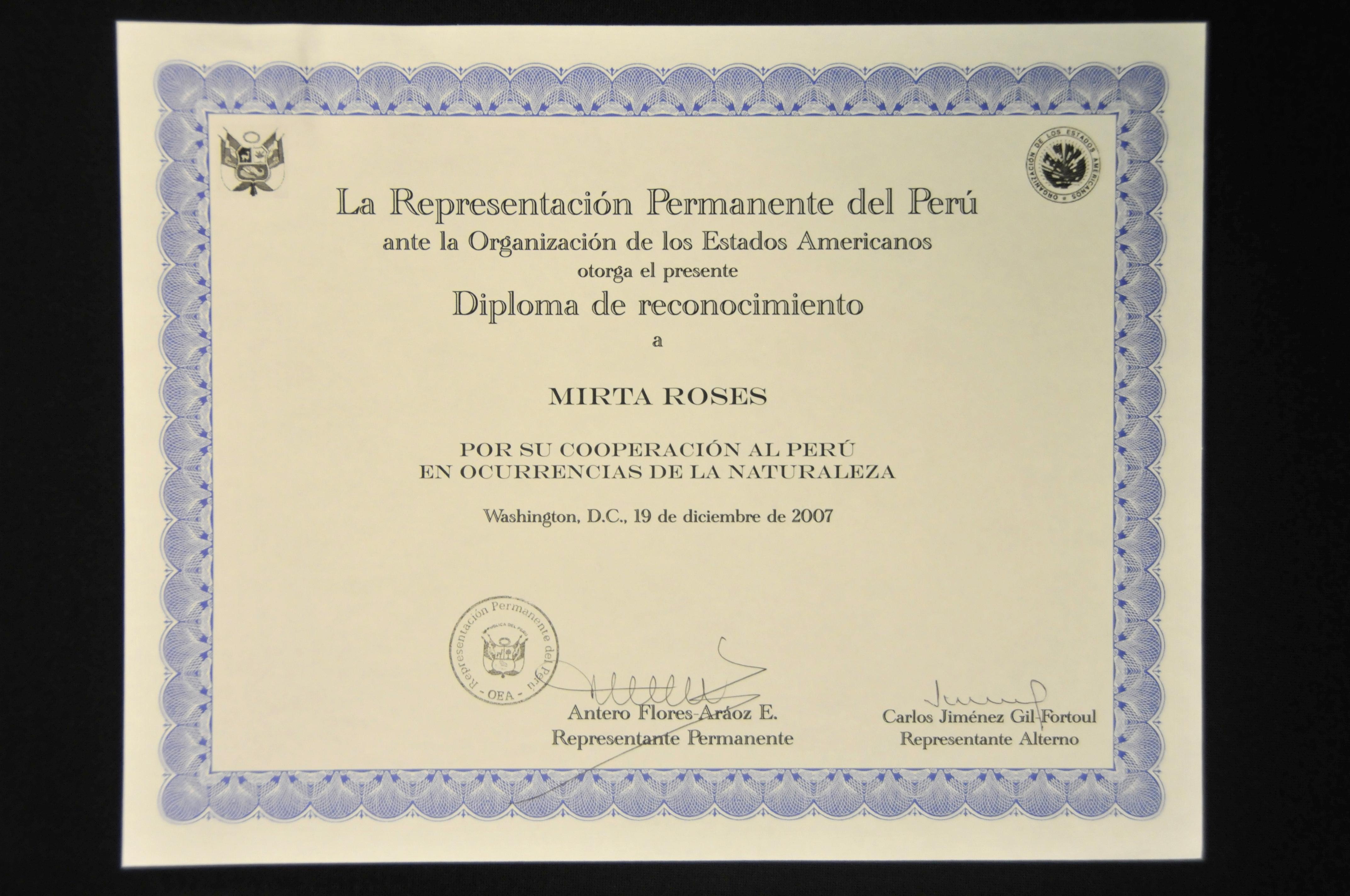 diploma de reconocimiento por cooperaci u00f3n al per u00fa en