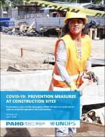 COVID-19: Prevention Measures at Construction Sites. Prevention Measures for Managing COVID-19 Risks on Construction Sites to Prevent the Spread of Coronavirus, Version 1.0 (April 2020)
