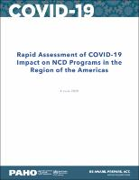 Rapid Assessment of COVID-19 Impact on NCD Programs in the Region of the Americas, 4 June 2020