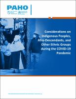 Considerations on Indigenous Peoples, Afro-Descendants, and Other Ethnic Groups during the COVID-19 Pandemic, 4 June 2020