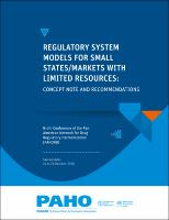 Regulatory System Models for Small States/Markets with Limited Resources. Concept Note and Recommendations. Ninth Conference of the Pan American Network for Drug Regulatory Harmonization (PANDRH). (San Salvador, 24 to 26 October, 2018)