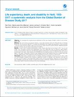 Life expectancy, death, and disability in Haiti, 1990- 2017: a systematic analysis from the Global Burden of Disease Study 2017