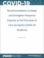 Recommendations to Adapt and Strengthen Response Capacity at the First Level of Care during the COVID-19 Pandemic, September 2020