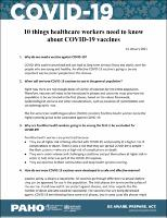 Ten Things Healthcare Workers Need to Know about COVID-19 Vaccines, 15 January 2021