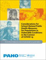 Considerations for School-Related Public Health Measures for Populations in Vulnerable Conditions in the Context of COVID-19